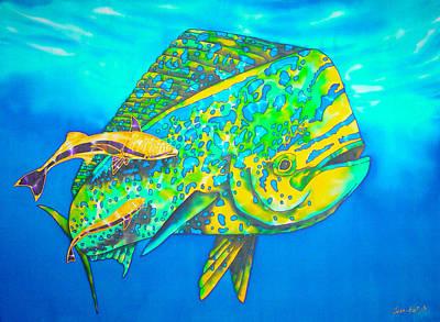 Batik Painting - Dorado And Remoras - Dorado Fish by Daniel Jean-Baptiste