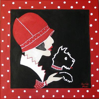 Dottie With The Scottie 1 Art Print by Susan McLean Gray