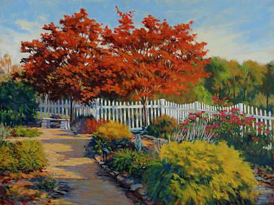 Garden Statuary Painting - Dotti's Garden Autumn by Keith Burgess