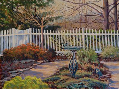 Garden Statuary Painting - Dotti's Garden Winter by Keith Burgess