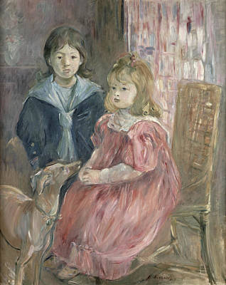 Whippet Painting - Double Portrait Of Charley And Jeannie Thomas by Berthe Morisot