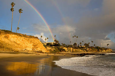 Refection Photograph - Double Raibow Over Laguna Beach by Cliff Wassmann