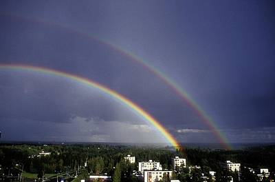 Double Rainbow Over A Town Art Print by Pekka Parviainen