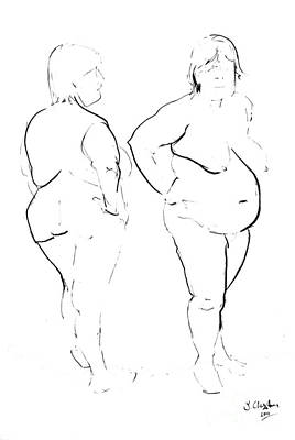 Drawing - Double Standing Female Nude by Joanne Claxton