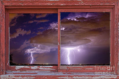 Double Trouble Lightning Picture Red Rustic Window Frame Photo A Art Print by James BO  Insogna