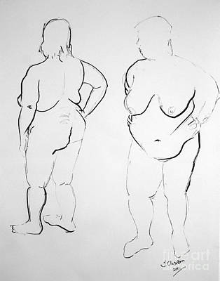 Drawing - Double Voluptuous  by Joanne Claxton