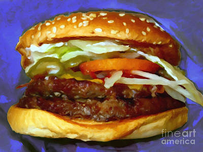 Double Whopper With Cheese And The Works - V2 - Painterly - Purple Art Print