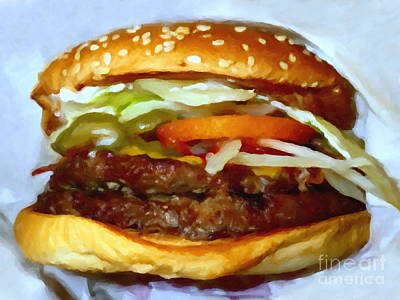 Fastfood Photograph - Double Whopper With Cheese And The Works - V2 - Painterly by Wingsdomain Art and Photography