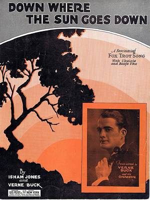 Old Sheet Music Photograph - Down Where The Sun Goes Down by Mel Thompson