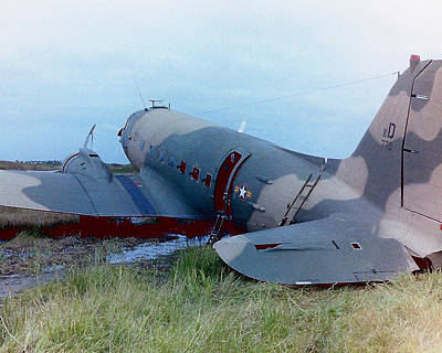 Photograph - Downed Gunship 1970 by Ross Powell
