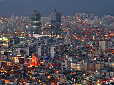 South Korea Photograph - Downtown At Night In South Korea by Copyright Michael Mellinger