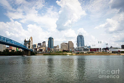 Roebling Bridge Photograph - Downtown Cincinnati Skyline Buildings by Paul Velgos