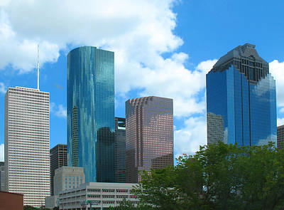 Photograph - Downtown Houston With Tree by Connie Fox