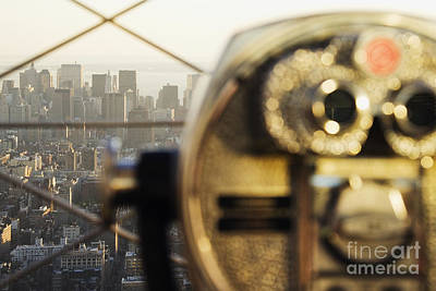 Downtown Manhattan Behind Coin Operated Binoculars Art Print by Jeremy Woodhouse