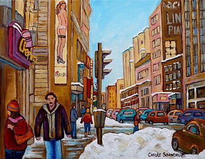 Downtown Montreal Paintings Art Print by Carole Spandau