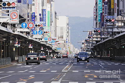 Downtown Street In Japan Print by Jeremy Woodhouse