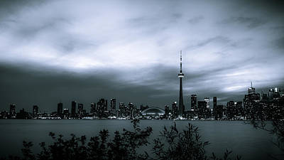 Photograph - Downtown Toronto At Night - Monochromatic by Anthony Rego