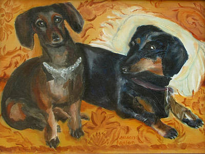 Dachshund Oil Painting - Doxie Duo by Susan Hanlon