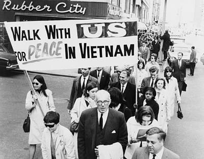 Anti-war Photograph - Dr. Benjamin Spock Leading A March by Everett