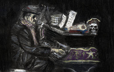 Dr. John In Charcoal And Pastel Art Print by Denny Morreale