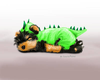 Mixed Media - Dragon Baby Yorkie by Catia Cho