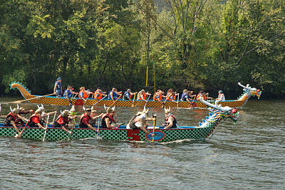 Photograph - Dragon Boats Racing by Barry Doherty
