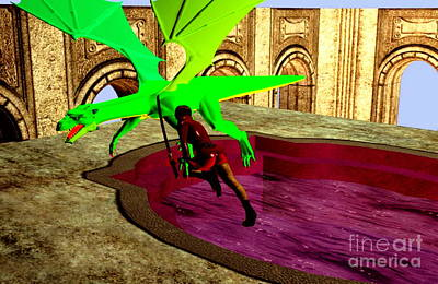 Digital Art - Dragon Defense by Stanley Morganstein