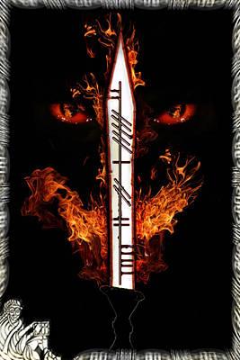 Dragon Flame And Sword Art Print