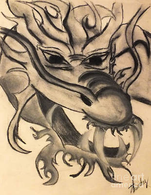 Drawing - Dragon Head by Tammy Herrin