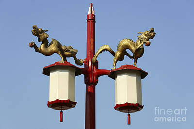 Photograph - Dragon Lamppost Vancouver Chinatown by John  Mitchell