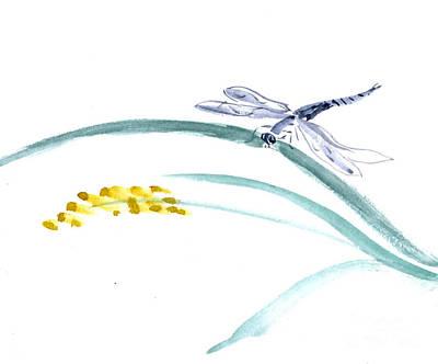 Katsu Painting - Dragonfly Landing by Ellen Miffitt