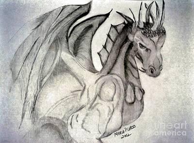 Drawing - Dragonheart - Bw by Maria Urso