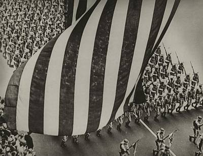Dramatic Photo Of Us Flag And Uniformed Art Print by Everett