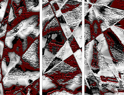 Digital Art - Dramatique Red Triptych by Paula Ayers