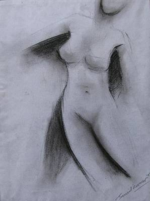 Nude Figure Drawing - Drawing 001 by Sunil Kumar