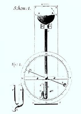 Barometer Photograph - Drawing Of Robert Hooke's Wheel Barometer Of 1665. by
