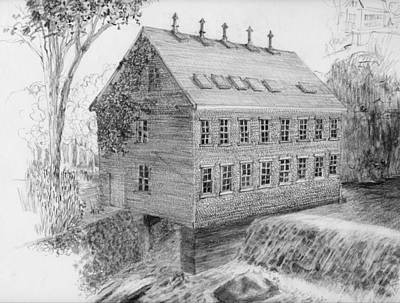 Drawing - Drawing Salmon Dam Flour Mill by William OBrien