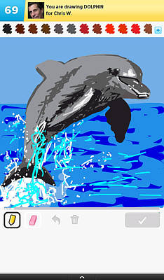 Digital Art - Drawsomething Dolphin by Katherine Huck Fernie Howard