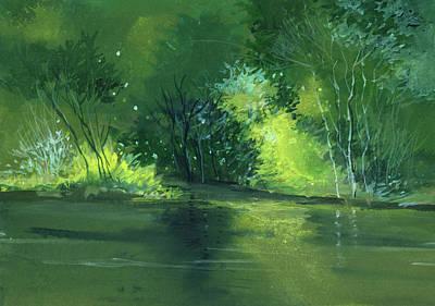 Peaceful Scene Painting - Dream 1 by Anil Nene