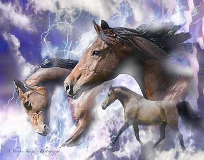 Dream Horses Art Print by Linda Finstad