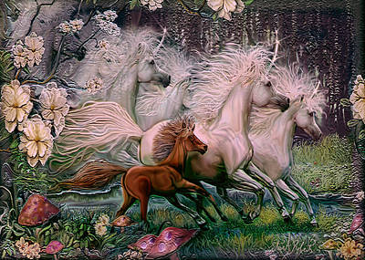 Print featuring the painting Dreams Of Unicorns by Steve Roberts