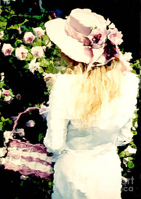 Dreamy Cottage Chic Girl Holding Basket Roses Art Print by Kathy Fornal