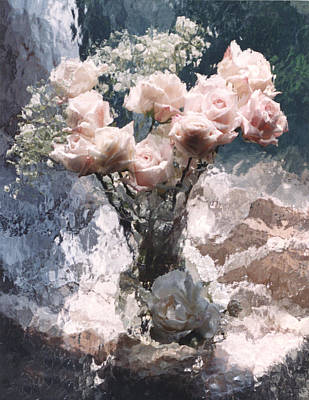 Dreamy Impressionistic Cottage Pink Roses  Art Print by Kathy Fornal