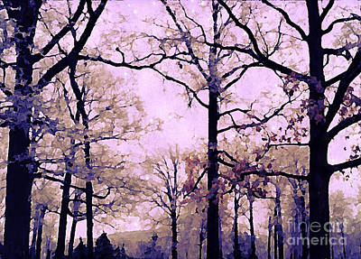 Surreal Digital Art Photograph - Dreamy Impressionistic Romantic Nature Trees Woodlands Forest Autumn Pink Mauve Lavender by Kathy Fornal