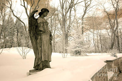 Nature Infrared Photograph - Dreamy Surreal Angel Sepia Nature Scene by Kathy Fornal