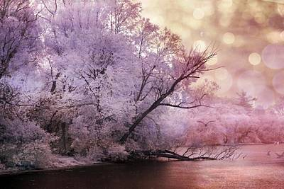 Dreamy Surreal Fantasy Pink Nature Lake Scene Art Print by Kathy Fornal