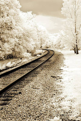Surreal Infrared Sepia Nature Photograph - Dreamy Surreal Infrared Sepia Railroad Scene by Kathy Fornal