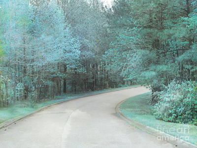 Park Scene Photograph - Dreamy Teal Aqua Blue Nature Trees by Kathy Fornal