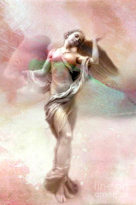 Ethereal Angel Art - Dreamy Whimsical Pastel Pink Dreaming Angel Art  Print by Kathy Fornal