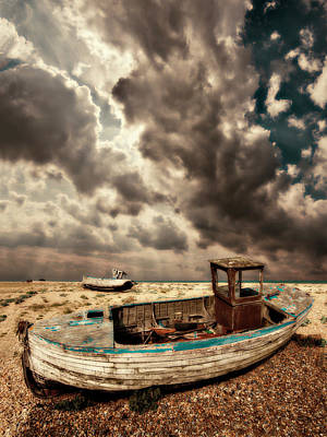 Wooden Boat Photograph - Dreamy Wrecked Wooden Fishing Boats by Meirion Matthias